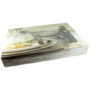 caja de cartón con ventana para la presentación de alimentos de bandeja de aluminio