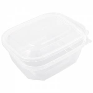 envase de plástico para microondas rectangular con cierre de seguridad de pp de 500cc