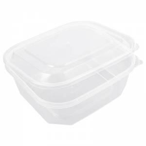envase  de plástico para microondas rectangular con cierre de seguridad de 750cc