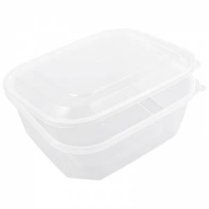 envase de plástico para microondas rectangular con cierre de seguridad de 1000cc
