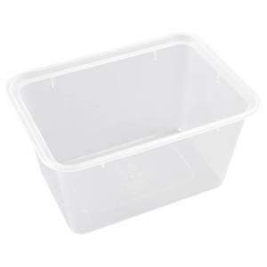 envase de plástico para microondas rectangular extrafuerte de 1000cc