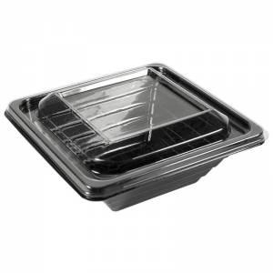 envase presentación de pet negro con tapadera transparente de 250cc para alimentos frios