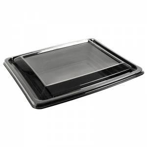 envase presentación de pet negro con tapadera transparente de 500cc para alimentos frios
