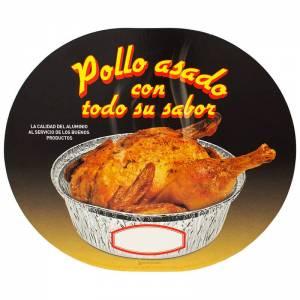 tapadera ovalada de cartón para envase de pollo asado