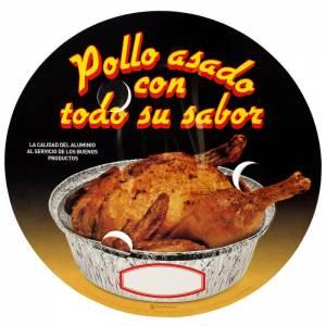 tapadera de cartón con agujeros para envase de pollo asado