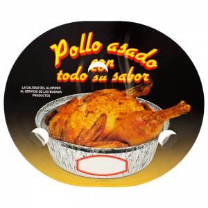tapadera ovalada de cartón con agujeros para envase de pollo asado