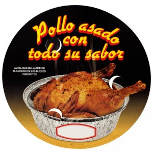 tapadera de cartón con agujeros para envase de pollo asado de 1900cc
