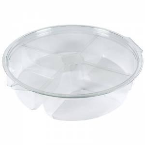 envase de plástico redondo de pet transparente de 1400cc con cuatro compartimentos. para alimentos fríos