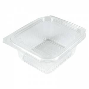 envase transparente de pla vegetal compostable con cierre de bisagra de 500cc