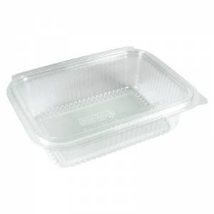 envase transparente con cierre de bisagra transparente de pla vegetal de 750cc