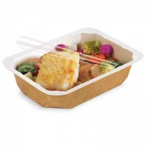 envase desechable termosellar de cartón de 750cc con alimentos