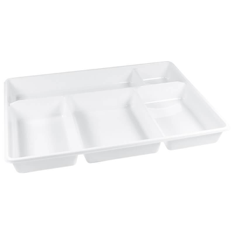 bandeja portamenú con 5 compartimentos blanca