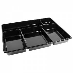 bandeja desechable con 5 compartimentos negra