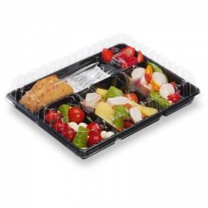 bandeja portamenu de ps negra con alimentos