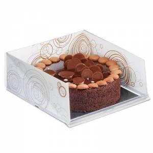 envase pastelería cuadrado con estructura de cartón blanca