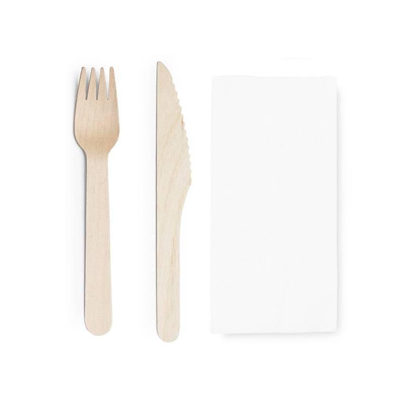 pack tener cuchillo y servilleta de madera embolsado