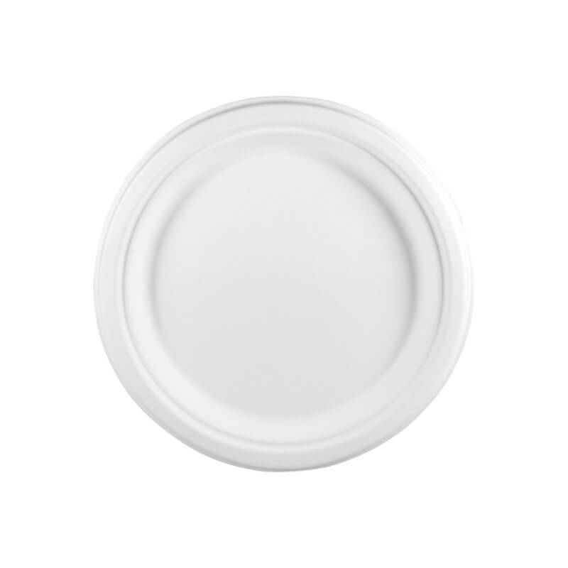 plato redondo grande de fibra de caña de azúcar, 100% compostable