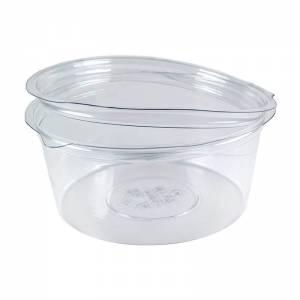 envase de plástico redondo con cierre de bisagra de pet de 750cc