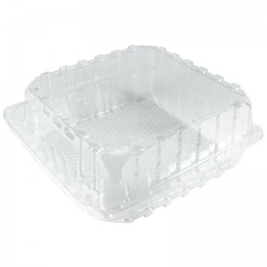 envase de plástico con tapa bisagra para bollería transparente de 19x19x8cm. Referencia: c19198x