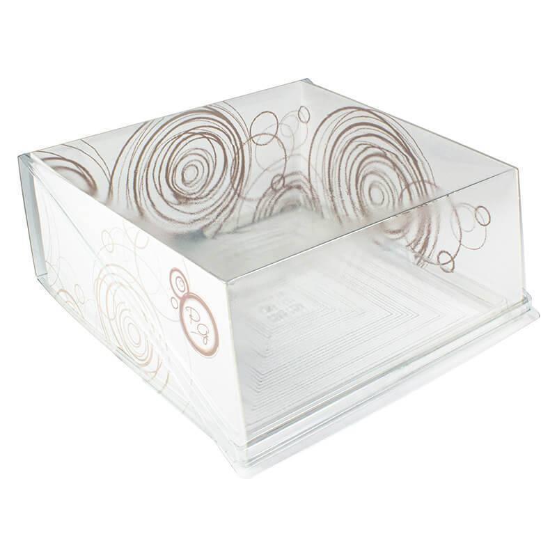 envase cuadrado para pastelería con cierre de bisagra y estructura de cartón blanco