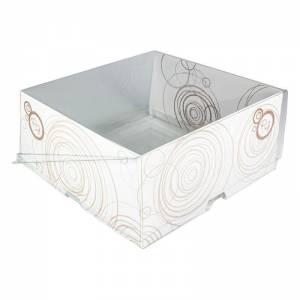 envase para pastelería cuadrada con cierre de bisagra y estructura de cartón blanco