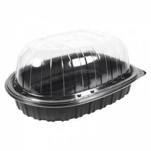 envase premium negro para pollo asado de polipropileno + tapadera de ops transparente