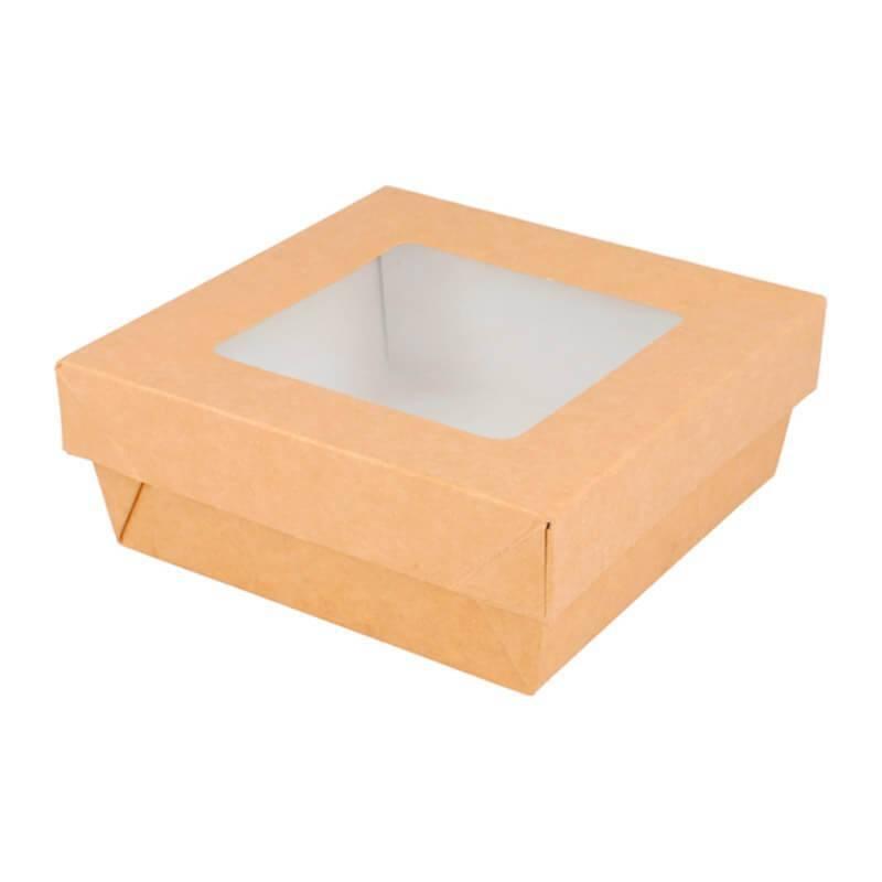 Caja de cartón con tapadera ventana de 12x12x5cm con capacidad para 500cc