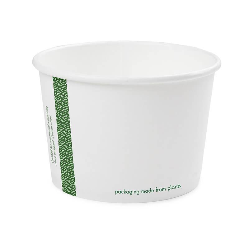 tarrina de celulosa compostable de 480cc de color blanco