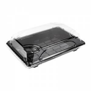 bandeja negra de ops y tapadera transparente para sushi