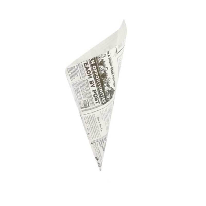 cono de papel antigrasa blanco con impresión de periodico para patatas fritas y churros