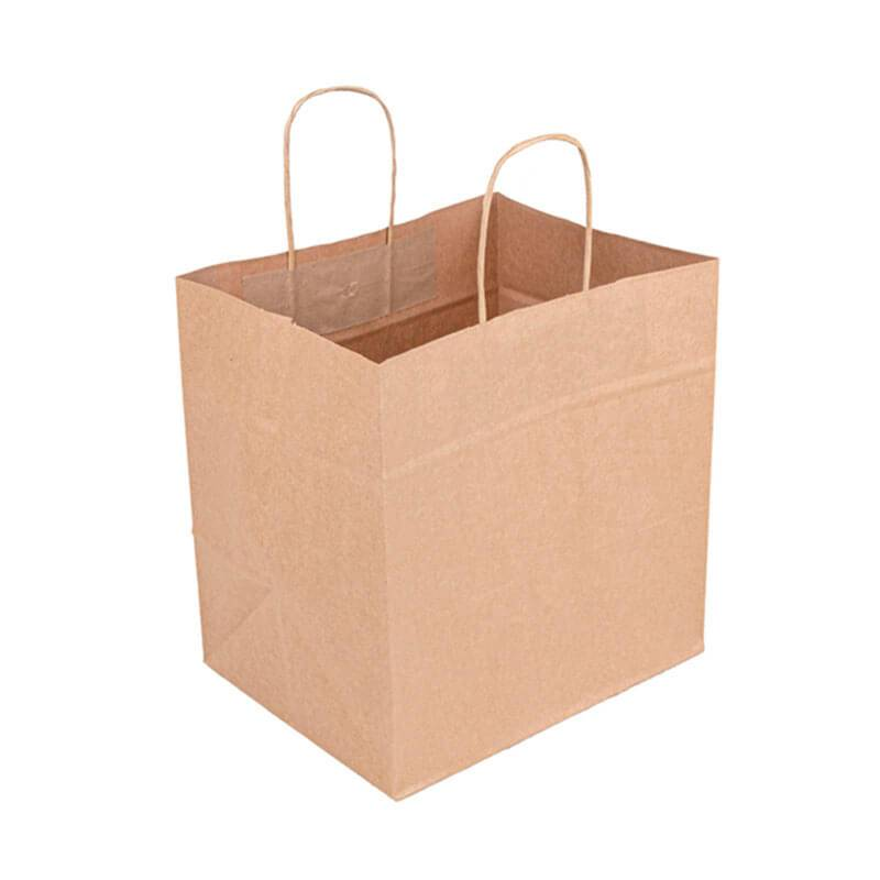 bolsa de papel kraft natural con asa rizada de 32+20x32cm