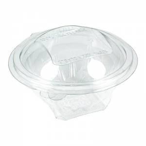ensaladera desechable de apet transparente con cierre de bisagra de 250cc