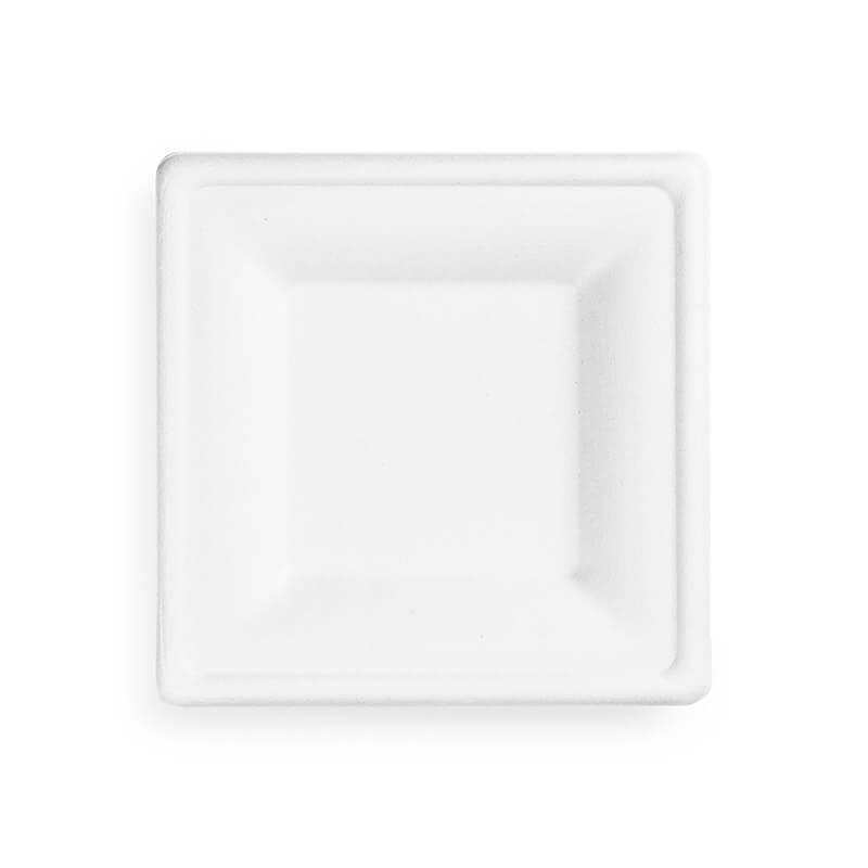 plato pequeño cuadrado blanco de fibra de caña de azucar 100% compostable