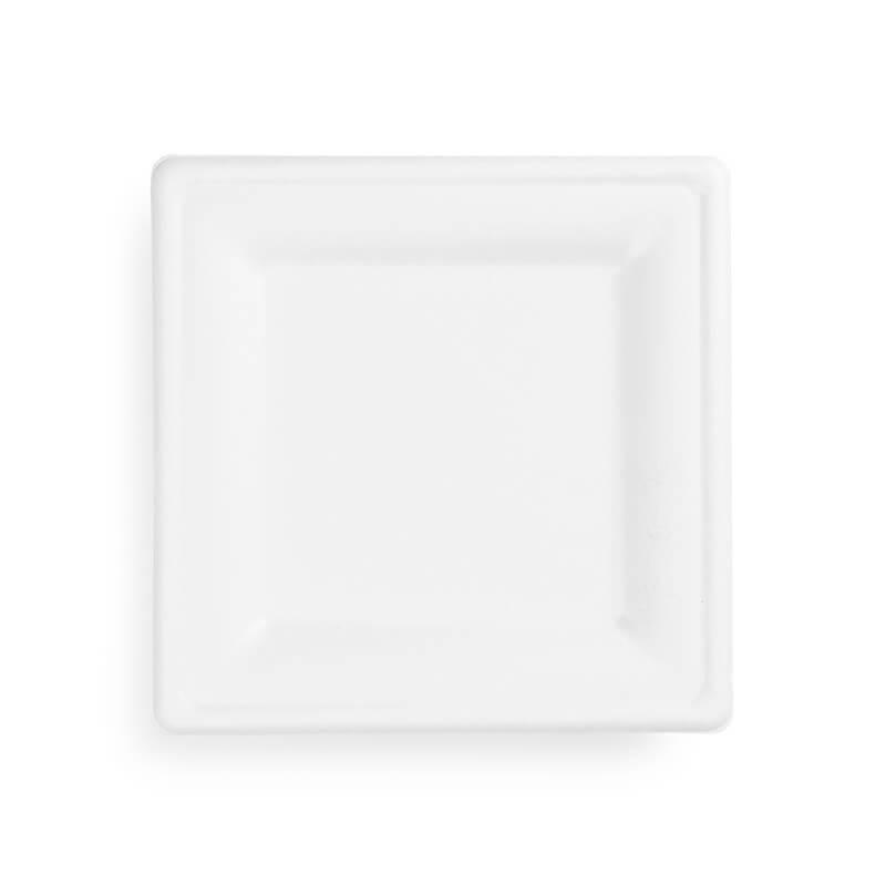 plato mediano cuadrado de fibra de caña de azucar 100% compostable blanco