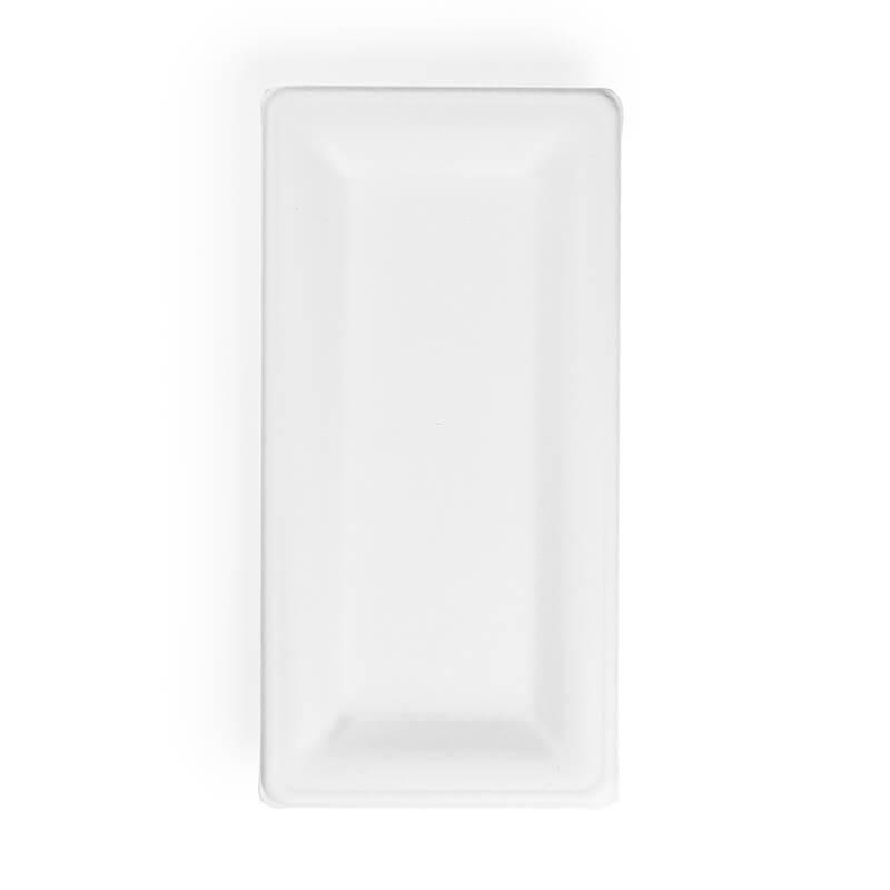 bandeja de fibra de caña de azucar rectangular, compostable blanca.