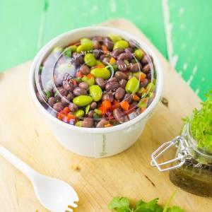 tarrina con tapadera transparente para uso frío de pla vegetal compostable