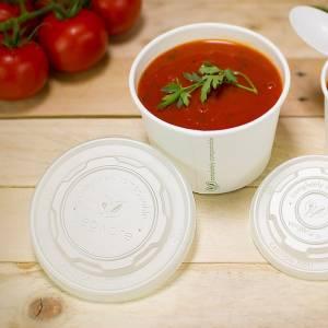 tarrina con tapadera translucida para uso caliente de pla vegetal compostable