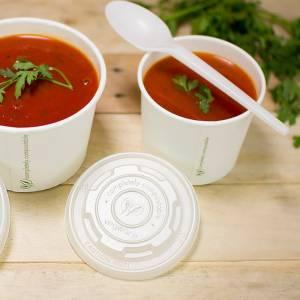 tarrina con tapadera translucida para uso caliente de pla vegetal