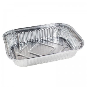 envase de aluminio rectangular para raciones individuales
