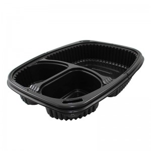 envase premium negro de polipropileno con tres compartimentos de 1036cc apto para microondas