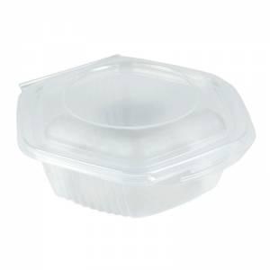 envase de plástico para microondas hexagonal con cierre de bisagra de  250cc de capacidad
