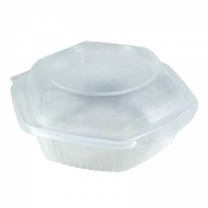 envase de plástico para microondas con cierre de bisagra de 375cc.