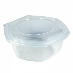 envase de plástico para microondas hexagonal con cierre de bisagra de 500cc