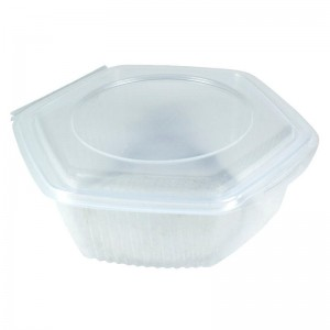 envase de plástico para microondas hexagonal con cierre de bisagra de 750cc