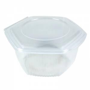 envase de plástico para microondas hexagonal con cierre de bisagra de 1000cc de capacidad