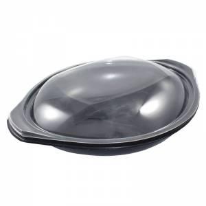 envase premium negro y tapadera transparente ovalado de 750cc apto para microondas