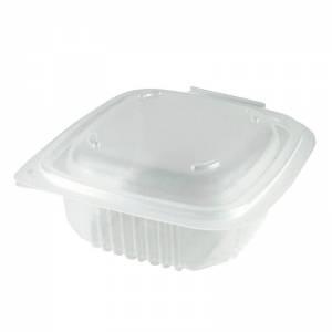 envase de pp rectangular con cierre de bisagra, 250cc para microondas
