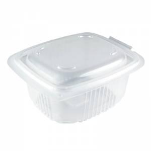 envase de plástico para microondas pp rectangular con cierre de bisagra, de 500cc