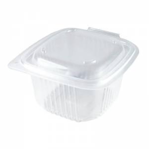 envase de plástico para microondas rectangular con cierre de bisagra, de 375cc