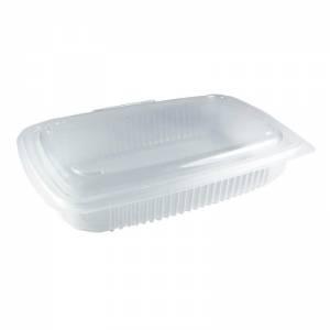 envase de plástico para microondas pp rectangular con cierre de bisagra, de 700cc